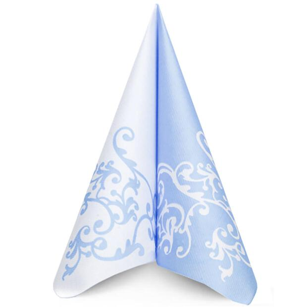 "Mank ""Pomp"" pastell blau , 40 x 40cm, 1/4 Falz, 60g Airlaid"