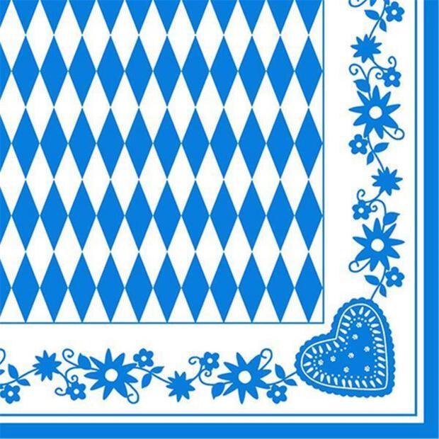 50 Servietten Bayrisch Blau 40 x 40 cm 1/4 Falzung