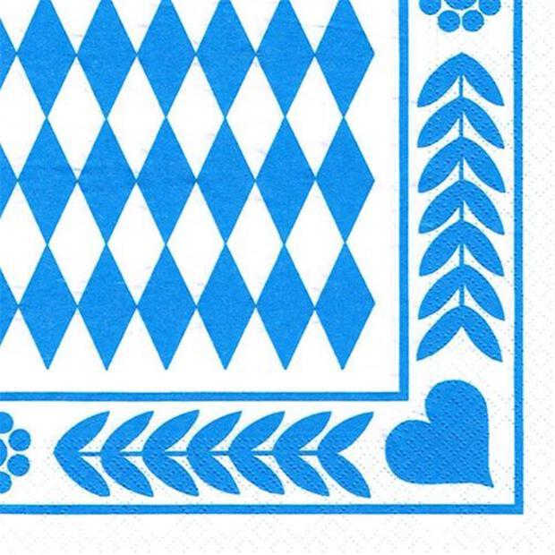 Papstar 250 Servietten, 3-lagig 1/4-Falz 33 cm x 33 cm Bayrisch Blau