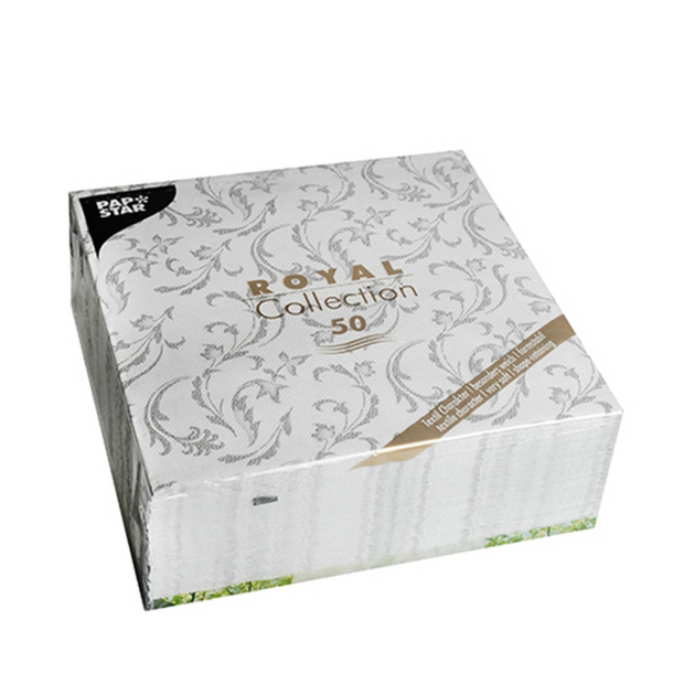 50 Servietten Papstar Royal Collection Damascato grau 40...