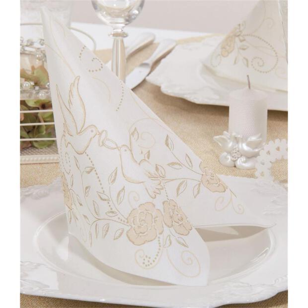"Mank ""Hochzeit"", creme gold, 40 x 40cm, 1/4 Falz, 60g Airlaid"