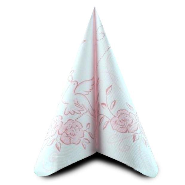 50 Airlaid Servietten Mank Hochzeit rosa-bordeaux 40 x 40 cm 88073