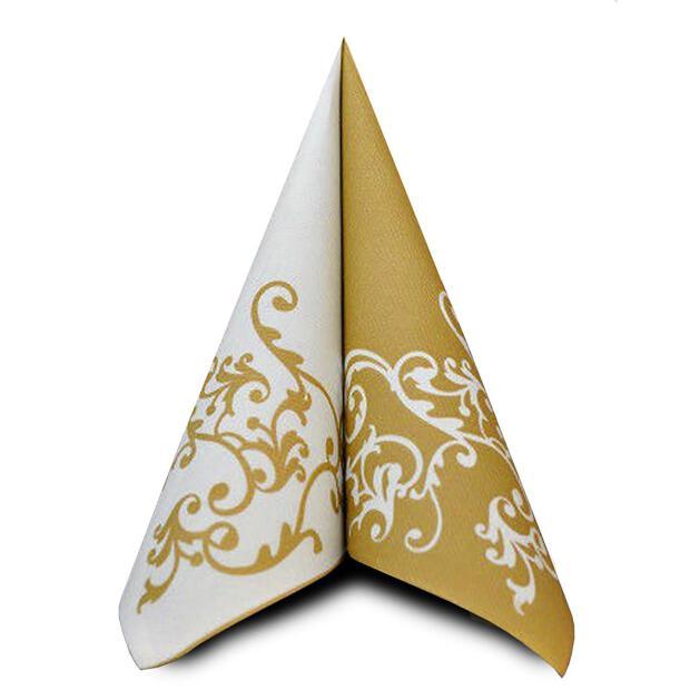 50 Airlaid Servietten Mank Pomp weiß-gold 40 x 40 cm 88319