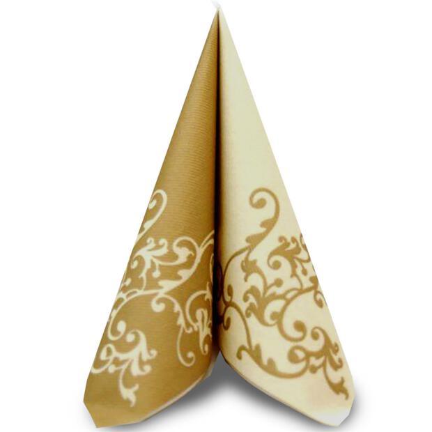 50 Airlaid Servietten Mank Pomp elfenbein-gold 40 x 40 cm 88320