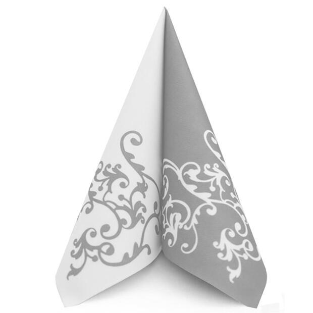 50 Airlaid Servietten Mank Pomp silber-weiß 40 x 40 cm 88318