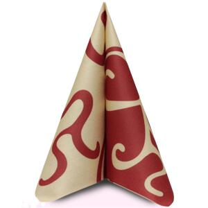 Mank Flair bordeaux creme, 40 x 40cm, 1/4 Falz, 60g Airlaid
