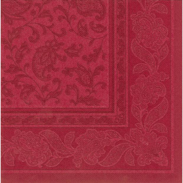 Servietten Royal Collection Ornaments , bordeaux, 40 x 40 cm 1/4 Falzung