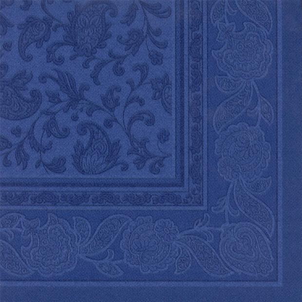 Servietten Royal Collection Ornaments , dunkelblau, 40 x 40 cm 1/4 Falzung