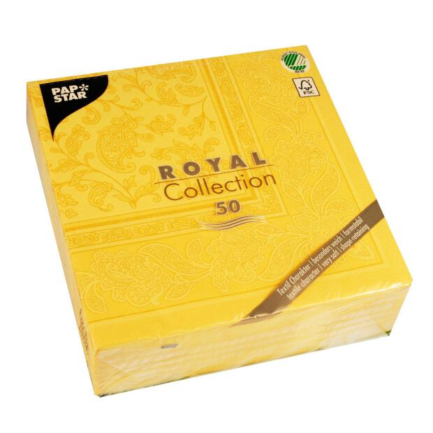 Servietten Royal Collection Ornaments , gelb, 40 x 40 cm...