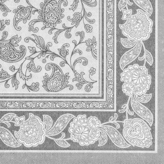Servietten Royal Collection Ornaments , grau, 40 x 40 cm 1/4 Falzung