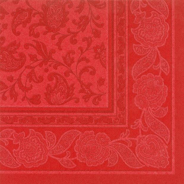 Servietten Royal Collection Ornaments , rot, 40 x 40 cm 1/4 Falzung