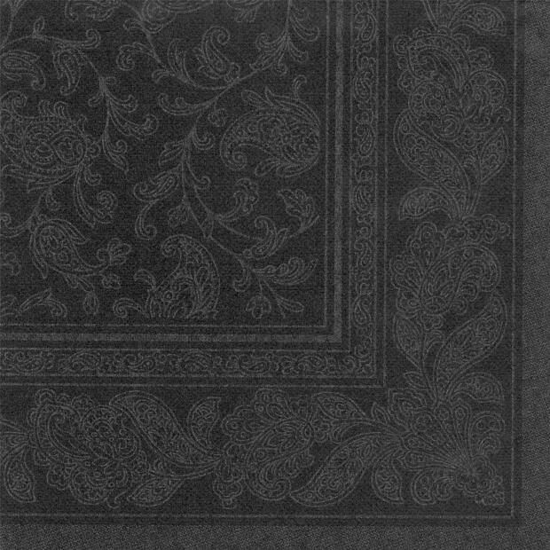 Servietten Royal Collection Ornaments , schwarz, 40 x 40 cm 1/4 Falzung