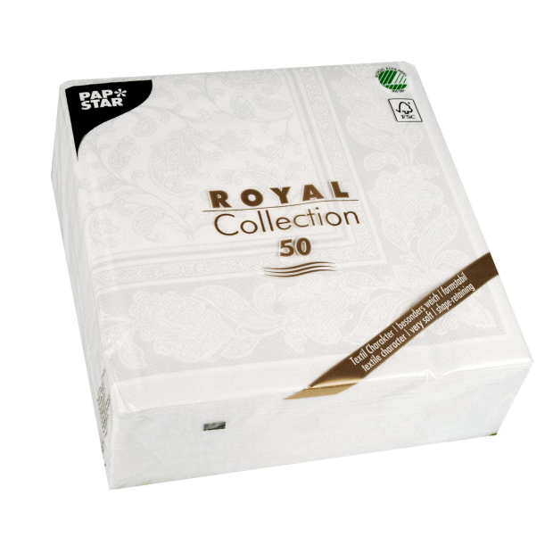 Servietten Royal Collection Ornaments , weiß, 40 x 40 cm 1/4 Falzung