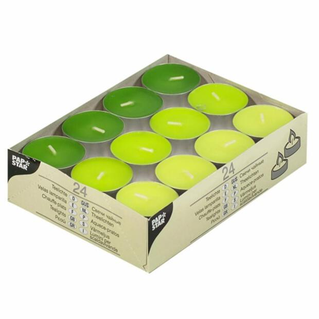 """Teelichter """"Kiwi, Kiwigrün, Maigrün"""" , 38mm Durchmesser, 16mm Höhe, 24 Stk"""