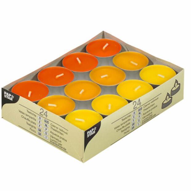 """Teelichter """"Gelb, Orange, Borneo"""" , 38mm Durchmesser, 16mm Höhe, 24 Stk"""
