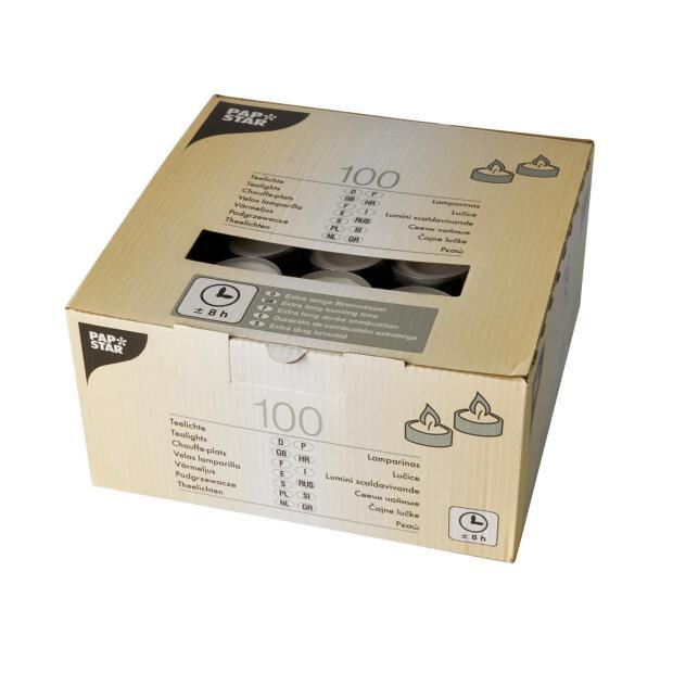 100 Teelichter Ø 38 mm 23 mm weiss Brenndauer 8h