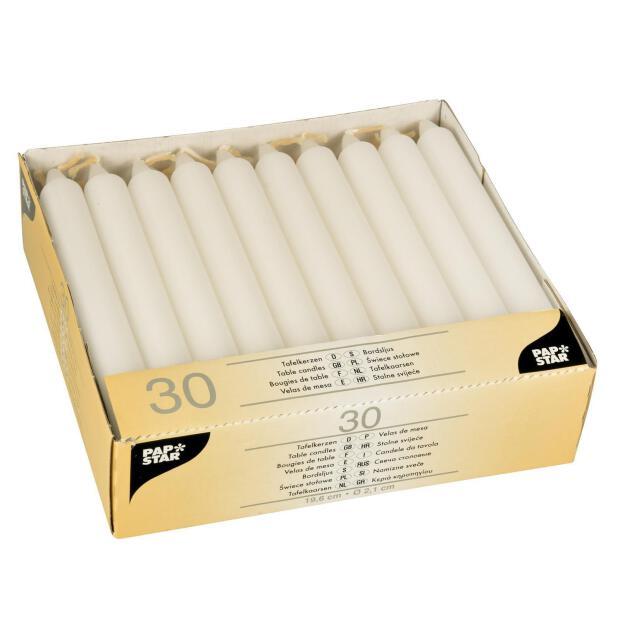 30 Leuchterkerzen Ø 2,15 cm 19,6 cm weiß