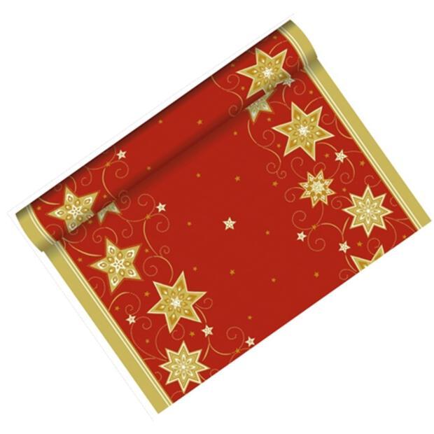 """1 Tischläufer, stoffähnlich, Airlaid 3 m x 40 cm rot """"Just Stars"""" auf Rolle"""