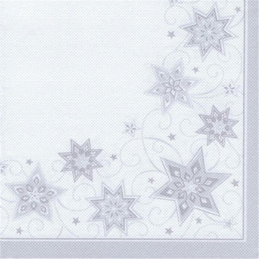 50 Servietten ROYAL Collection 1/4-Falz 48 cm x 48 cm weiss Just Stars