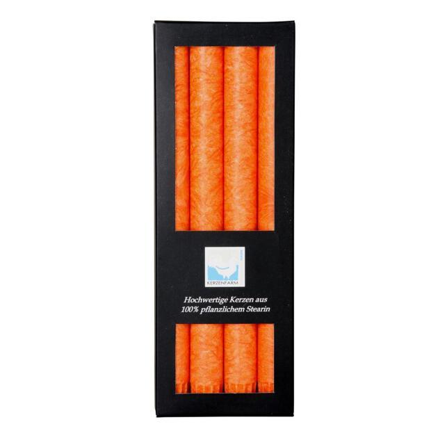 4 Stabkerzen Ø 2,2cm 25cm orange