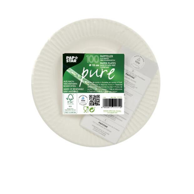 100 Papstar pure Einweg-Teller aus Pappe rund 15 cm weiss 11171