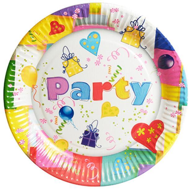 """10 Teller, Pappe rund Ø 23 cm """"Party Mix"""""""