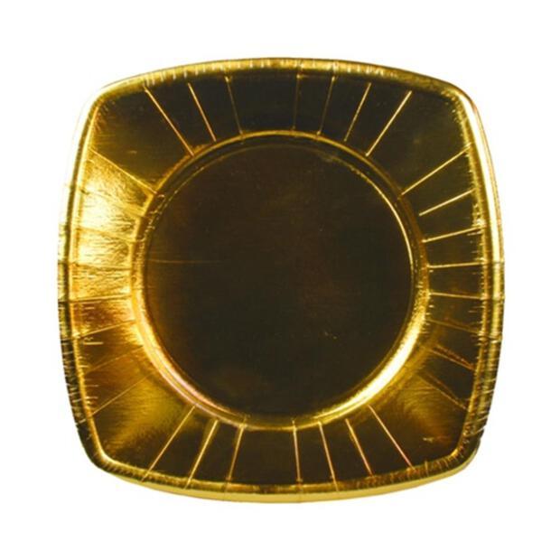 8 Teller, Pappe eckig 20 cm x 20 cm gold