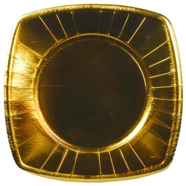 8 Teller, Pappe eckig 26 cm x 26 cm gold
