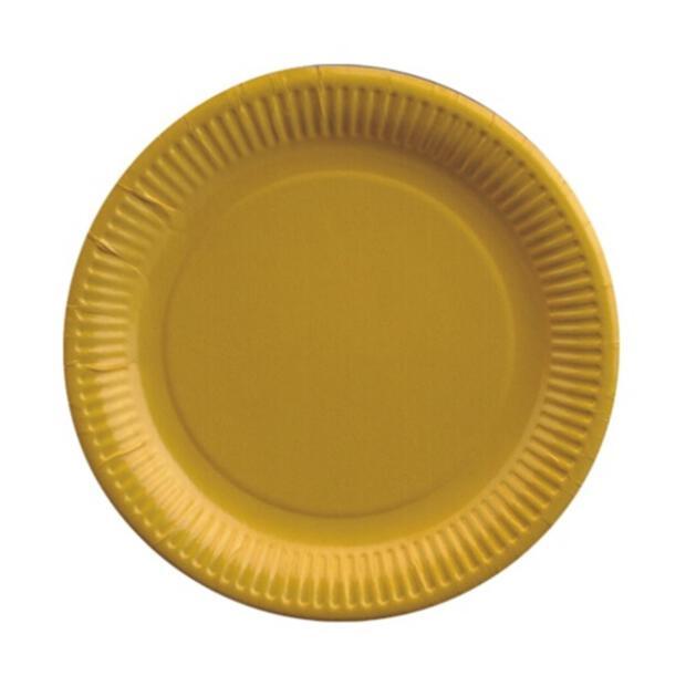 50 Teller, Pappe rund Ø 23 cm gelb