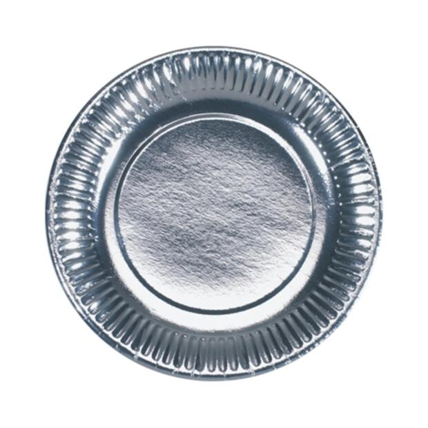 6 Teller, Pappe Ø 19 cm silber