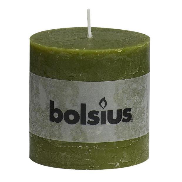 1 x Bolsius Rustik Stumpenkerze Ø 6,8 cm x 8 cm olivgrün