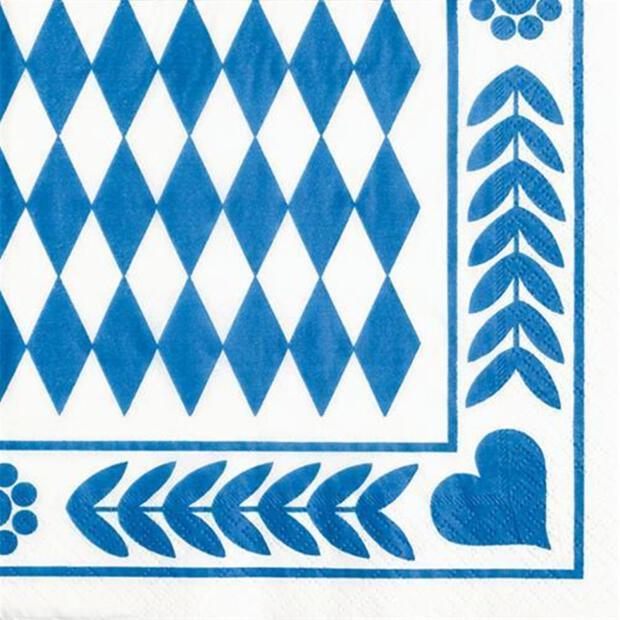 """20 Servietten, 3-lagig 1/4-Falz 33 cm x 33 cm """"Bayrisch Blau"""""""