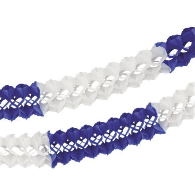 Großraumgirlande, Papier Ø 16 cm · 10 m blau/weiss schwer entflammbar