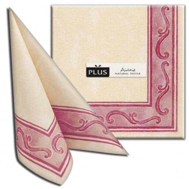 "PI ""Riccio"" bordeaux, 40 x 40cm, 1/4 Falz, Airlaid"