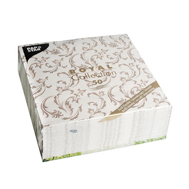 50 Servietten Papstar Royal Collection Damascato braun 40...