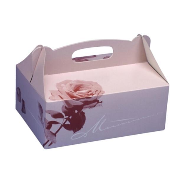 20 Gebäck-Kartons, Pappe eckig 20 cm x 13 cm x 9 cm rosé mit Tragegriff