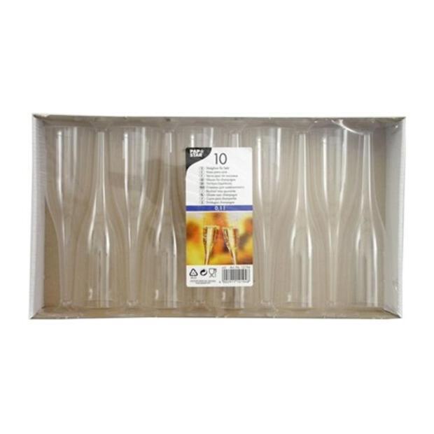 10 Stiel-Gläser für Sekt, PS 0,1 l Ø 5,1 cm · 17 cm glasklar einteilig