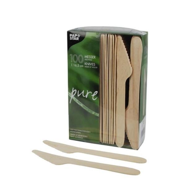 100 Papstar pure Messer aus Holz 16,5 cm 18200