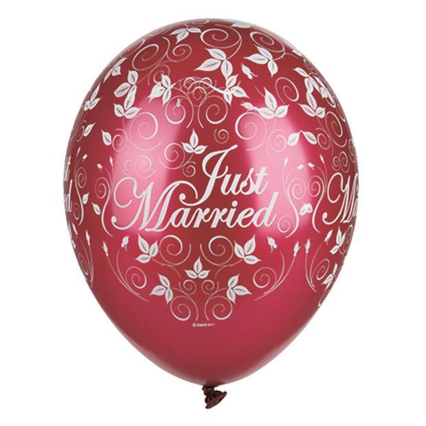 Papstar 30 Luftballons Ø 29 cm bordeaux Just Married metallic