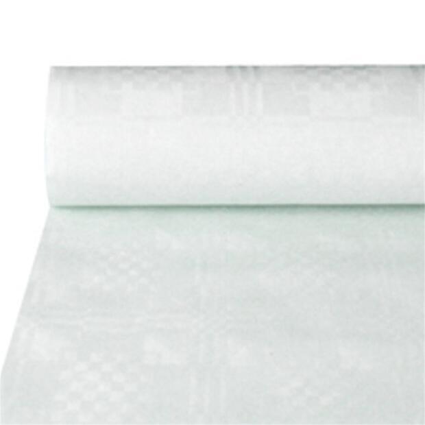 Papiertischtuch mit Damastprägung 50 m x 1 m weiß