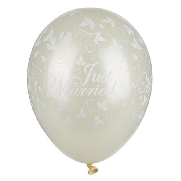 """Papstar 30 Luftballons Ø 29 cm elfenbein """"Just Married"""" metallic"""