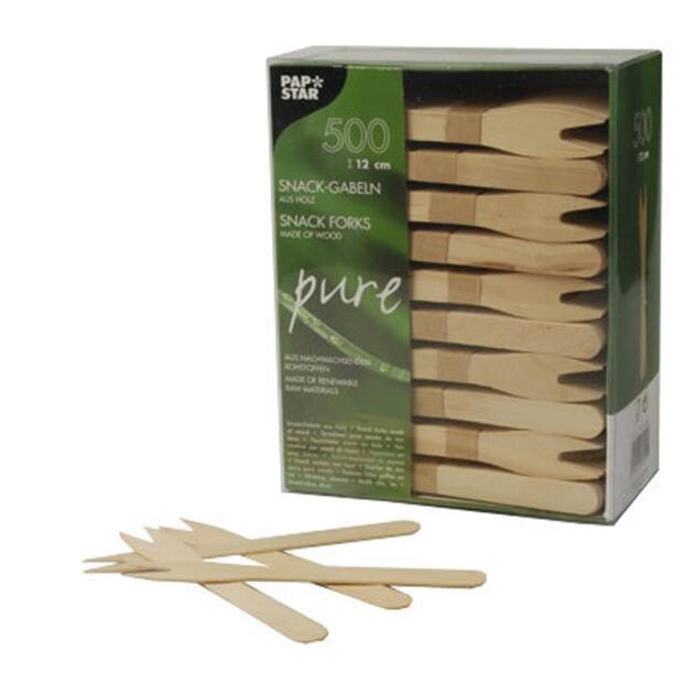 500 Papstar pure Snack-Gabeln aus Holz 12,1cm 82557