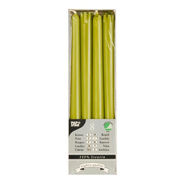 8 Leuchterkerzen Ø 2,2 cm · 25 cm olivgrün aus 100 % Stearin