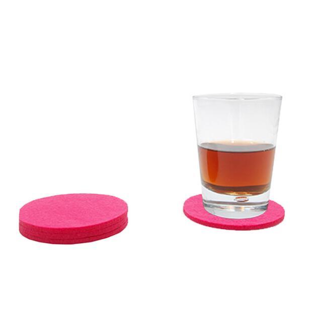 Filzuntersetzer 4mm - Rund - 4 Stück - ca. Ø 10 cm - 35 Pink