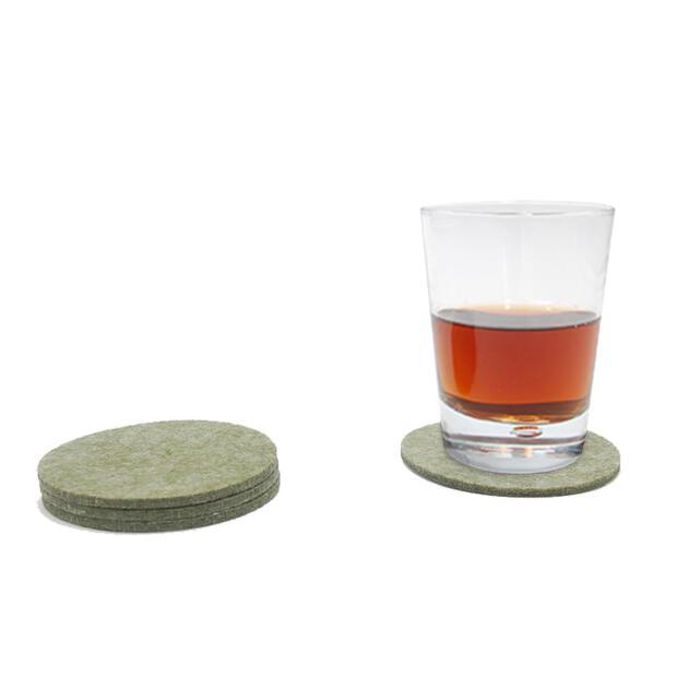 Filzuntersetzer 4mm - Rund - 4 Stück - ca. Ø 10 cm - 66 Olivgrün meliert