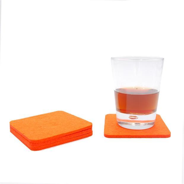 Filzuntersetzer 4mm - Abgerundet Eckig - 4 Stück - ca. Ø 10 cm - 16 Orange