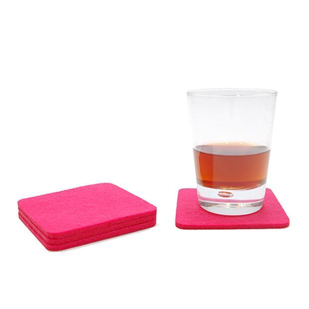 Filzuntersetzer 4mm - Abgerundet Eckig - 4 Stück - ca. Ø 10 cm - 35 Pink