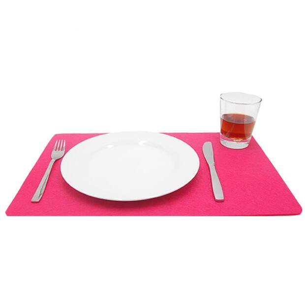 Filzuntersetzer 4mm - Platzset - Abgerundet Eckig - 1 Stück - 45 x 30 cm - 35 Pink
