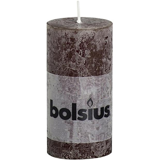 Bolsius Rustik Stumpenkerze Ø 5 x 10 cm schokobraun