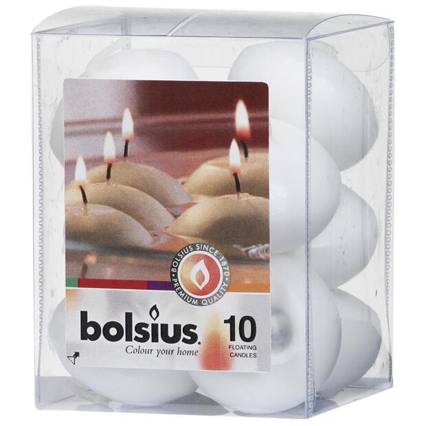 Bolsius Schwimmkerzen 10er Box weiß